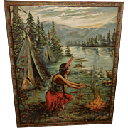 Indian Maiden in Red Warming by Fire