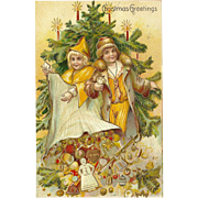 Embossed German Christmas Postcard of Children with Toys