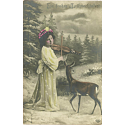 Tinted Photo German Christmas Postcard of Girl and Deer