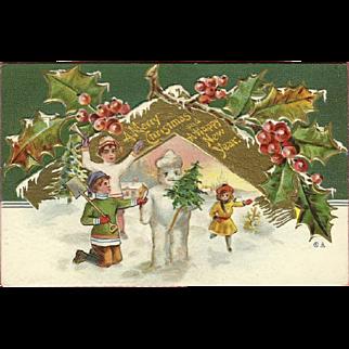 Embossed Nash 1910 Christmas Postcard of Children Building Snowman