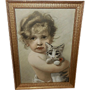 Bruno Piglhein Engraving Print of Child with Cat