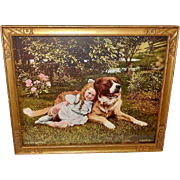 Girl with Saint Bernard Dog - A Safe Refuge Copyright 1909