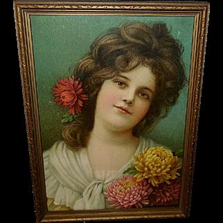 Prudential Chromolithograph 1904 Calendar Print of Beautiful Brunette