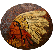 Large Round Painted Pyrography of Native American Indian Chief