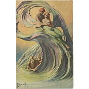 Artist Signed Barchi Fantasy Postcard of Couple Caught in Wave