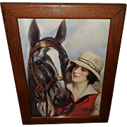 Haskell Coffin Vintage Print of Comrades - Lady and Horse