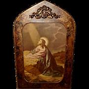 Vintage Print of Jesus in the Garden of Gethsemane in Embellished Curved Frame
