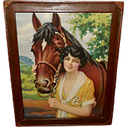 Vintage Print of Pals Woman and Her Horse by A. Wilson