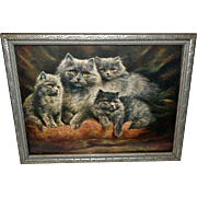 Lilian Cheviot Vintage Print of Silver Persian Cats