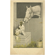 Artist Signed Horse and Dog Postcard by Lyman