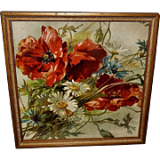 Small Chromolithograph of Poppies and Daisies