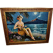 Vintage Print of Fairest Flower Hawaiian Girl Playing Musical Instrument