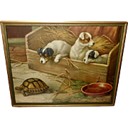 Edgar Hunt Vintage Print of Three Puppy Dogs Watching Turtle