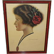 C. Warde Traver Vintage Profile Print of Dark Haired Lady with Red Flower