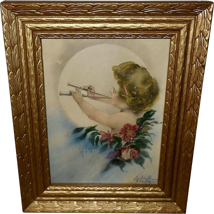 H.A. Weiss Hand Tinted Print of Cherub or Cupid Playing Horn