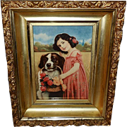 Vintage Print of Girl and Saint Bernard Dog in Ornate Frame