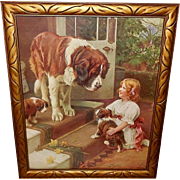 Arthur Elsley Vintage Print of Girl with Saint Bernard Dog and Puppies