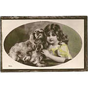 Glossy Vintage Postcard of Young Girl with Her Dog