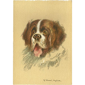 Continental French Postcard of Saint Bernard Dog by Henri Anglade