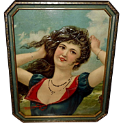 Large Embossed and Embellished Chromolithograph of Long Haired Woman
