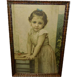Bouguereau Vintage Textured Print of Young Girl Yvonne