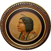 Embossed Chromolithograph of Indian Chief Wolf Robe