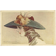 S. Bompard Vintage Italian Postcard of Lady in Lovely Hat