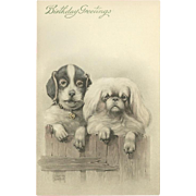 Art de Vienne Birthday Postcard of Two Dogs by Ulrich Weber