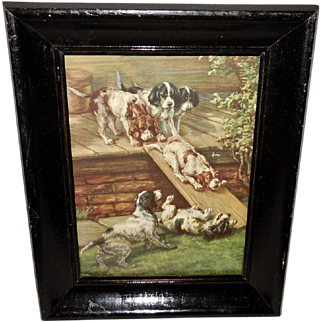Edmund Osthaus Vintage Print of Setter Puppies Playing on Slide