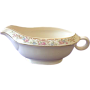 Paden City Marlene Lace Floral Rim Gravy Boat with Ring Handle