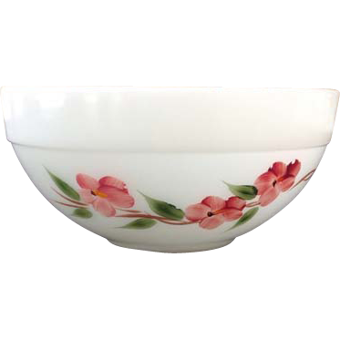 Gay Fad Peach Blossom Fire King Colonial Kitchen Mixing Bowl