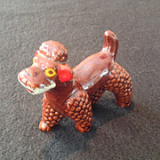 Redware Poodle Brown Glazed Dog Figurine from Japan