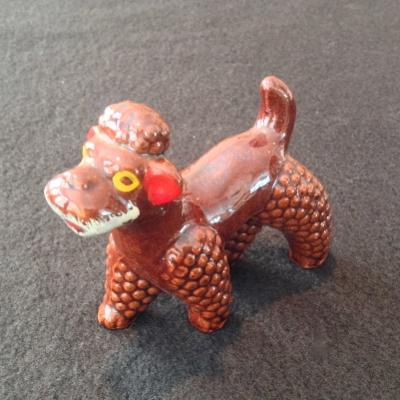 Redware Poodle Brown Glazed Dog Figurine from Japan