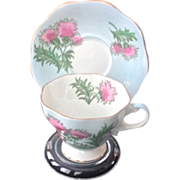 Foley Glengarry Thistle Bone China Teacup and Saucer