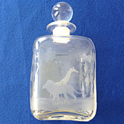 Mid Century Queen Lace Crystal Kenyan African Wildlife Decanter