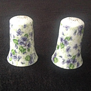 Lefton Violet Chintz Salt and Pepper Set