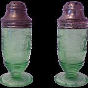 Hazel Atlas Cloverleaf Green Depression Glass Salt and Pepper Shakers
