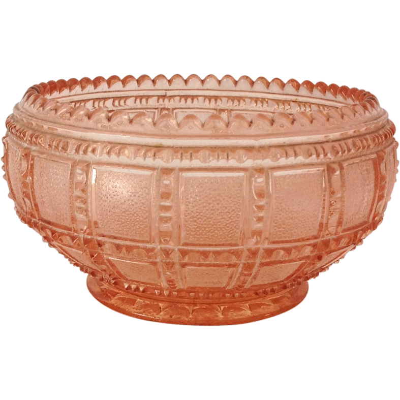 Imperial Beaded Block Pink Depression Glass Round Lily Bowl