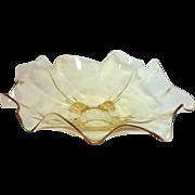 Cambridge #3400 Mandarin Gold Mid Century Elegant Glass Four-Toed Fancy Edge Console Bowl