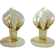 Cambridge #499 'Pristine' Elegant Glass Mandarin Gold Calla Lily Candlesticks