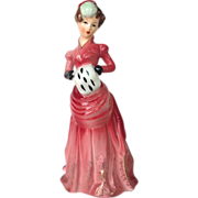 Bustled Lady in Red Porcelain Figurine with Muff