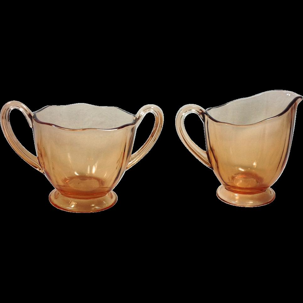 Fostoria Fairfax Elegant Glass Amber Cream and Sugar