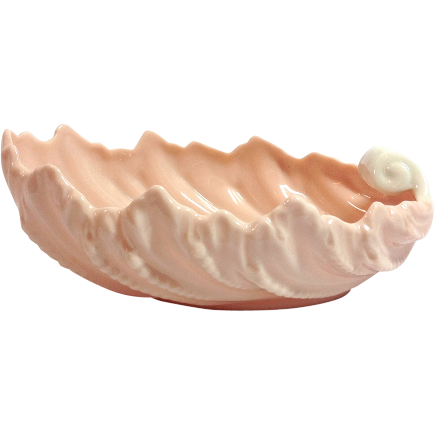 Lenox Mid-Century Pink and White Shell Shaped Candy Dish
