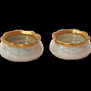 O&EG Austria Early 1900s Porcelain Iridescent Lustre Pair of Salt Dips