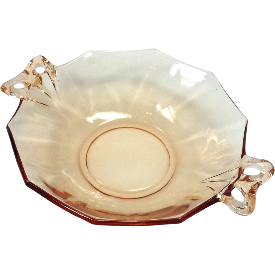 Fostoria Fairfax Amber Elegant Glass Two-Handled Lemon Dish