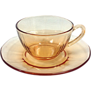 Fostoria Fairfax Elegant Glass Amber Cup and Saucer - Set of Four