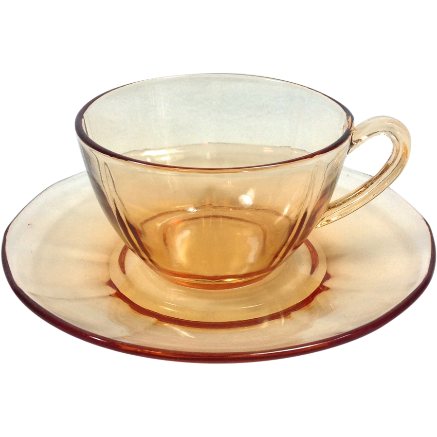 Fostoria Fairfax Elegant Glass Amber Cup and Saucer