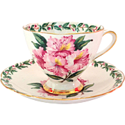 Gladstone Bone China Longton England Laurel Time Footed Teacup and Saucer