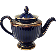 Hall Los Angeles Gold Decorated Cobalt 6 Cup 083 Teapot - Red Tag Sale Item