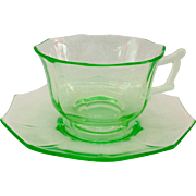Cambridge Decagon Emerald Green Elegant Glass Depression Era Cup and Saucer